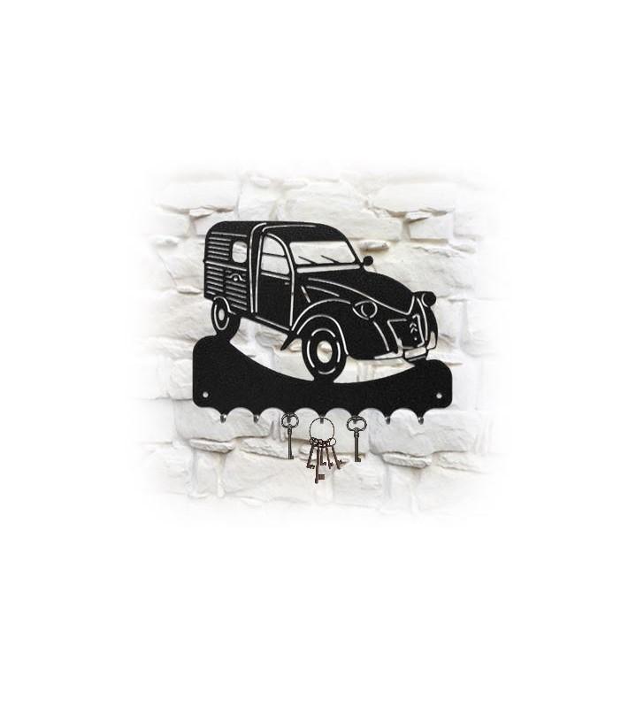 Accroche-clés mural en métal, décor 2CV camionnette