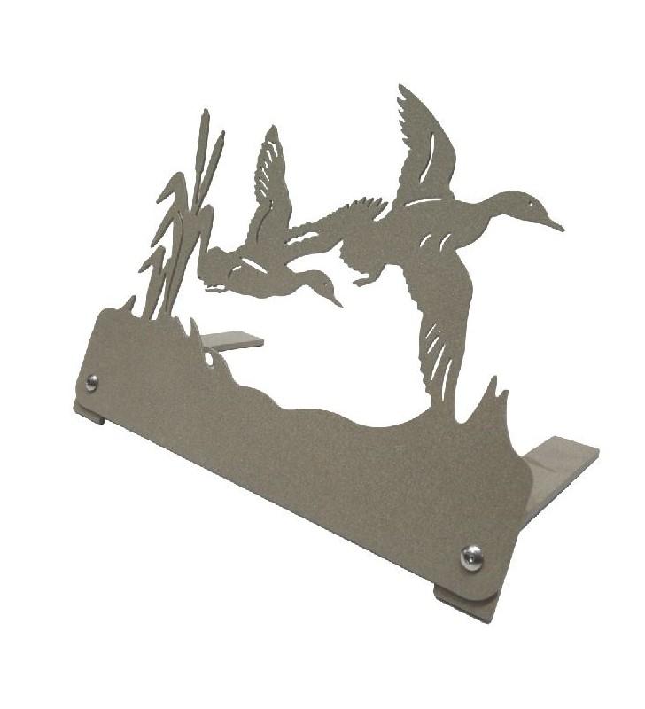 Plaque funéraire en métal originale, motif canards en vol