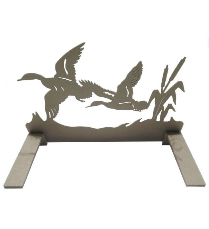 Plaque tombale en acier, motif canards en vol