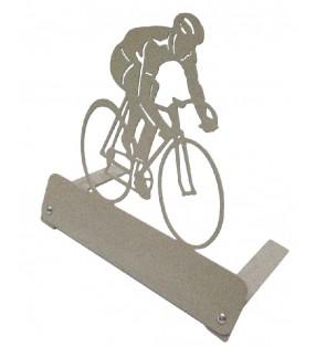 Plaque funéraire en métal originale, motif Cycliste