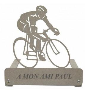 Plaque funéraire en métal, personnalisée, motif Cycliste