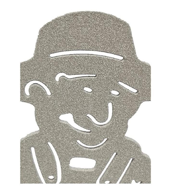 Plaque funéraire en métal, aspect texturé sable, motif Agriculteurs