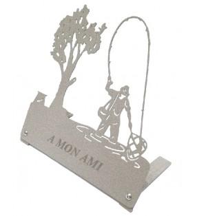 Plaque funéraire en métal originale, motif Pêcheur à l'épuisette