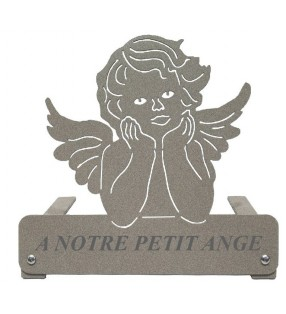 Plaque funéraire en métal, personnalisée, motif Angelot