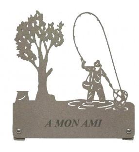 Plaque funéraire en métal, personnalisée, motif Pêcheur à l'épuisette