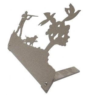 Plaque funéraire en métal originale, motif Chasseur et faisans