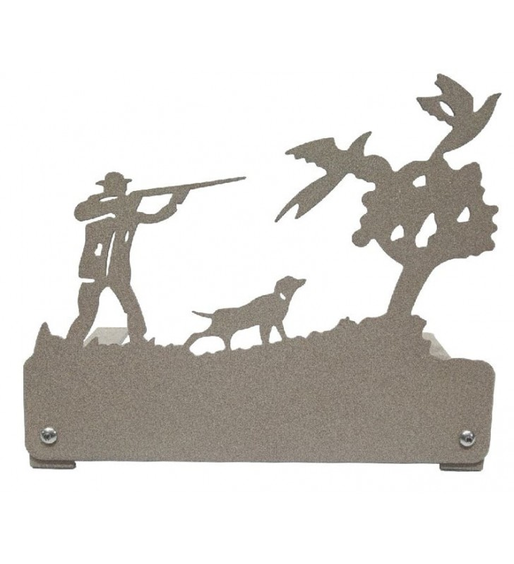 Plaque funéraire en métal, motif Chasseur et faisans