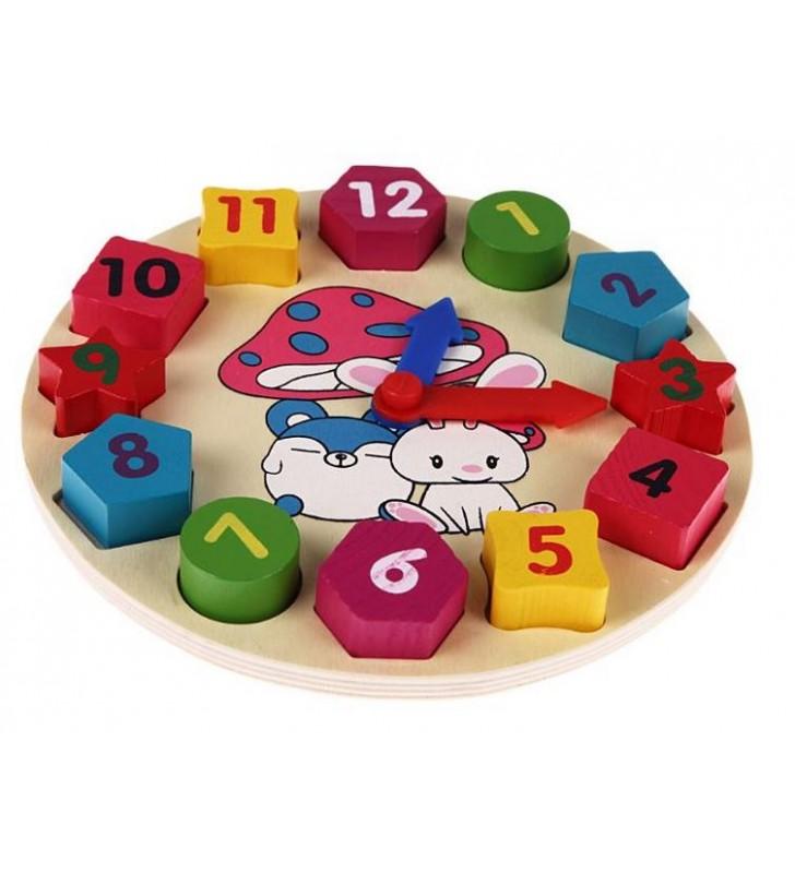 Horloge puzzle en bois pour apprendre les formes, les couleurs, les chiffres et l'heure