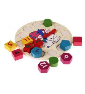 Horloge puzzle en bois pour enfant