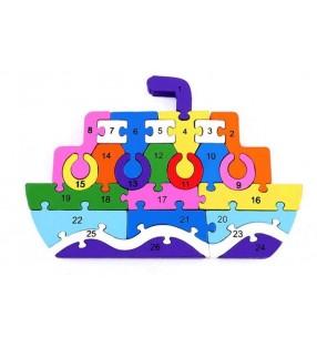 Puzzle 3D, apprentissage chiffres et lettres, modèle bateau