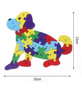 Puzzle en bois 3D ludique, chiffres et lettres, modèle chien
