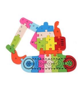 Puzzle en bois 3D ludique, chiffres et lettres, modèle Tractopelle