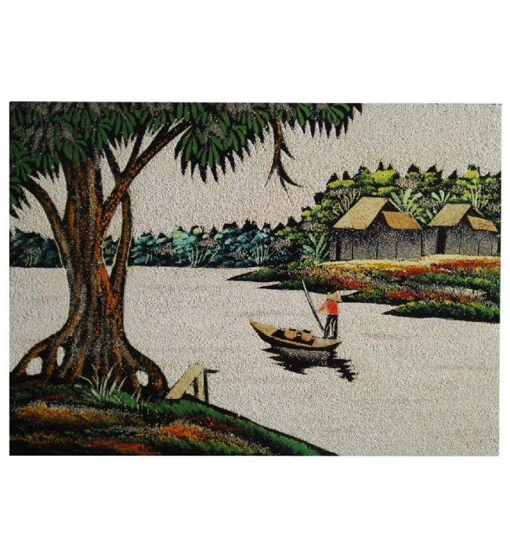 Tableau asiatique sable et coquilles d'œufs - pêcheur du Vietnam