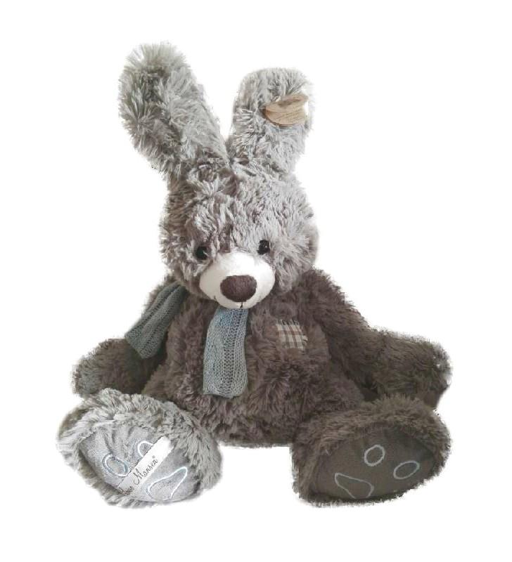 Peluche Louise Mansen, gros lapin gris Nils
