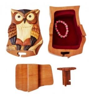 Intérieur de la boîte puzzle secrète à bijoux en bois intarsia, Hibou