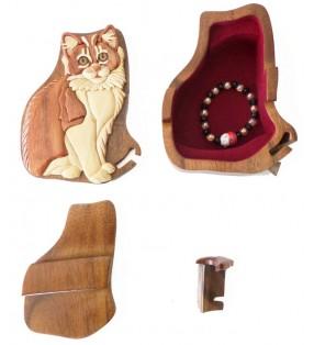 Intérieur de la boîte puzzle secrète à bijoux en bois intarsia, Chat angora