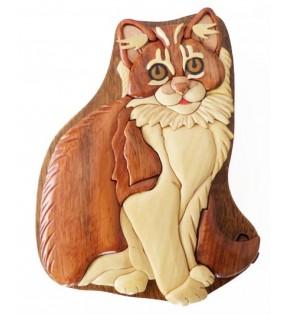 Boîte puzzle secrète à bijoux en bois intarsia, Chat angora