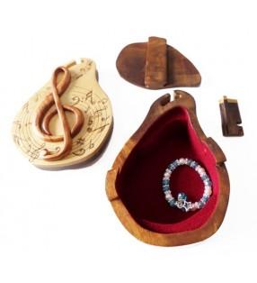 Intérieur de la boîte puzzle secrète à bijoux en bois intarsia, Clef de Sol