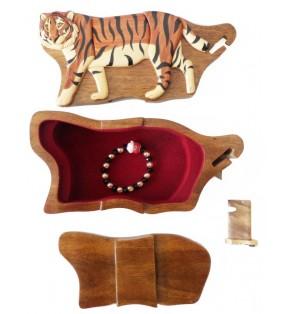 Intérieur de la boîte puzzle secrète à bijoux en bois intarsia, Tigre