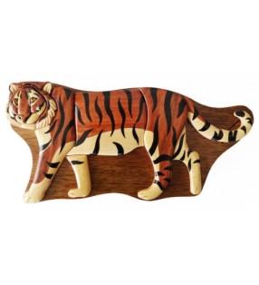 Boîte puzzle secrète à bijoux en bois intarsia, Tigre