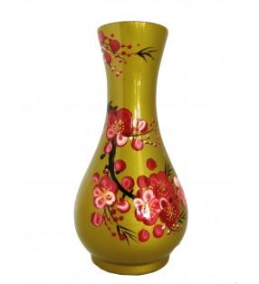 Vase fin en bois laqué, décor asiatique, fleurs cerisier du Japon