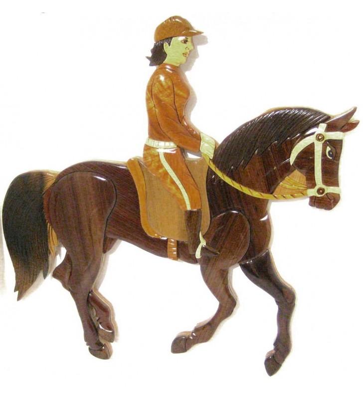 Décor mural intarsia bois, Cheval et sa cavalière