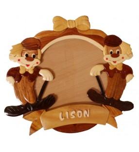 Cadre Photo Pêle-Mêle  / Plaque prénom en bois CLOWNS, personnalisé