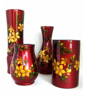 Objets de decoration asiatique en bois, laques, nacres et coquilles d oeufs