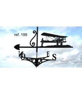 Girouettes de toit ou de jardin artisanales en acier thème Avions et Aéronefs