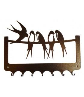 Accroche-clés en métal sur le thème des oiseaux